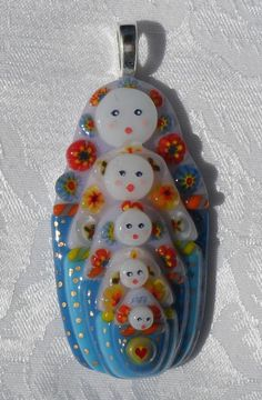 Russian Doll Pendant - (fused glass)