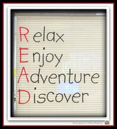 Letters on your library window: Relax, Enjoy, Adventure, Discover