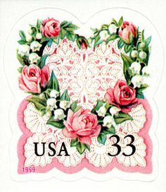 Roses and lace on a Victorian Hearts stamp issued in 1999 for wedding invitations, announcements, RSVPs, Valentine's Day cards and other greetings of affection.