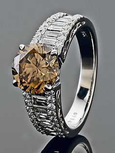 Chocolate Diamond Center w/ pave' and baguette white diamonds