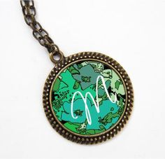 Emerald green floral Monogram Pendant  Mothers day by NewCreatioNZ, $21.00