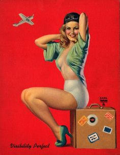 "Pilot Pinup Girl | Tattoo Ideas & Inspiration - Pinups | Earl Moran - ""Visibility Perfect"", 1940s."