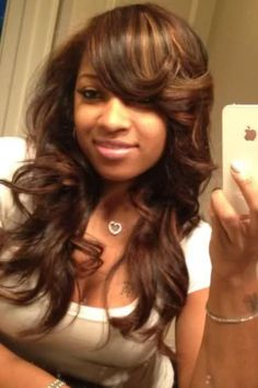 pretty hairstyle (sew-in) sew ins, hair color styles, girl hair, long hair, protective styles, side bangs, new hair colors, brunette hair, black girls