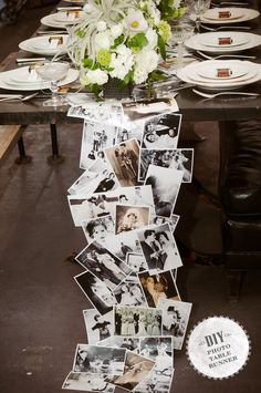 DIY: photo table runner.. This is really cute!