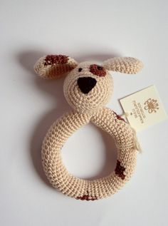 Baby Rattle Puppy: light brown/beige or dark brown - Rattling baby toys - Crochet, safe, friendly baby toy on Etsy, $20.00