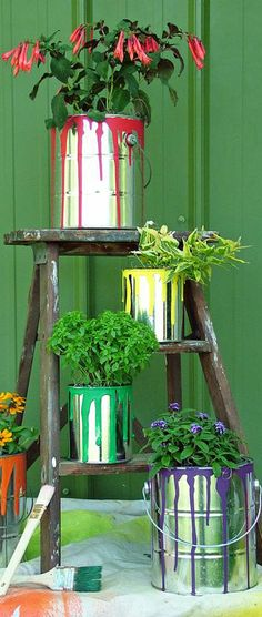 DIY: Plant Container Garden Art - This would be so cute at the entryway for an art party!w