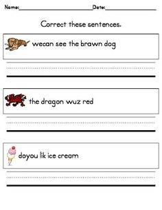 Writing Practice -- Correct These Sentences for Kindergarten! I will be adding more to this pack over the summer. I use these for morning work and writing center practice. Kids correct mistakes with conventions and sight word spelling.
