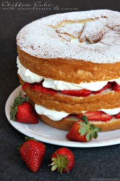 Chiffon Cake with Strawberries and Cream