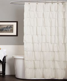 Loving this Ivory Ruffle Shower Curtain on #zulily! #zulilyfinds