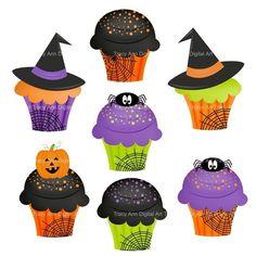 Halloween clip art cupcakes