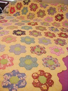 Vintage Grandmother's Flower Garden Quilt Feed sacks Hand Pieced & from shebang on Ruby Lane