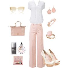 soft baby pink work outfit