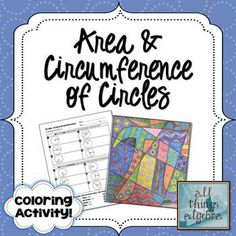 Area and Circumference of Circles - Coloring Activity (PERFECT for Pi Day!)