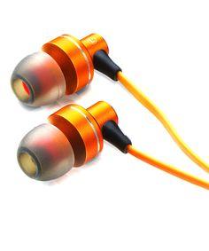 Orange stereo HD earphones