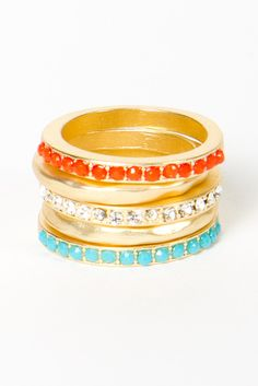 These Coral, Diamond & Turquoise Stacking Rings