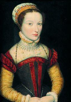 CORNEILLE DE LYON - Portrait de jeune femme à la robe ornée de colliers de perles