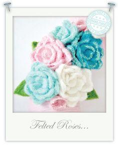 glitter needl, felted flowers, felt rose, glitter felt, felt craft, flower tutorial, felt flower, needl felt, christma