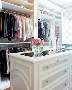 mirror, dream closets, closet organization, dresser, master closet, closet space, walk, chest of drawers, island