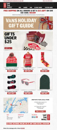 Vans used a real-time local map and helper text in this holiday email to direct email subscribers to the nearest store location. #emailmarketing #retail #geotargeting #holidayemail