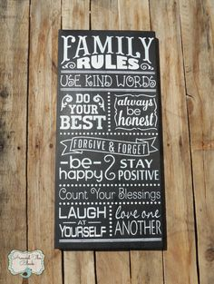 Family Rules SignWall Decor by AroundtheBlockAZ on Etsy, $40.00