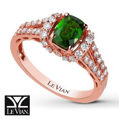 LeVian Ring Pistachio Diopside 14K Strawberry Gold