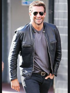 It's leather weather in London on Thursday for Bradley Cooper, who sports a black jacket and shades while filming the comedy Adam Jones in Leicester Square.
