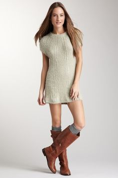 sweater dress cloth, tall boots, sweater dresses, knit dresses, fall, outfit, closet, brown boots, boot socks