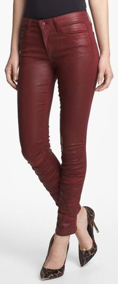 Red skinny jeans.
