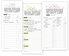 printable lists~ my little heaven!
