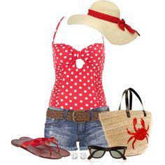 Red swimsuit, created by southerngirl-n-michigan on Polyvore