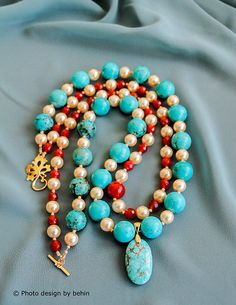 Turquoise and Pearls and Carnelian Two Strands by designbybehin https://www.etsy.com/listing/166985619/turquoise-and-pearls-and-carnelian-two?