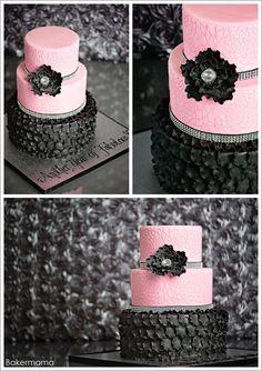 Glam Pink & Black Cake by Bakermama  |  TheCakeBlog.com