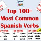 Top 120 Most Common Spanish Verbs for Verb Word Wall in your Spanish Classroom.