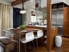 Kitchen. appliances, kitchen tables, contemporary kitchens, beams, kitchen photos, caramels, dining spaces, modern kitchens, kitchen layouts