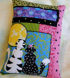 Romeow and Juliet Black and White Cats by thebeadedpillow on Etsy, $37.50