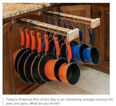 This is an amazing way to organize your pots and pans, and to keep them from banging around and getting damaged