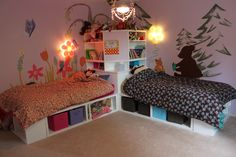 Twin Storage Beds with corner unit   Do It Yourself Home Projects from Ana White. Hmmm...?