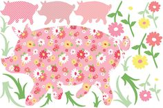 Breya Loves pigs and would delight in this too I am sure :) art kit, wall art, pig zoowallog, stick, zoowallog scarlett, wall decals, pigs, appliques, babi