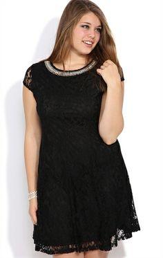 Deb Shops Plus Size Lace #Skater #Dress with Stone Neckline $37.03