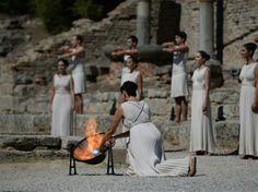 Olympic Flame Lighting Ceremony On 29 September 2013 the Olympic Flame was lit in Olympia, Greece, the birthplace of the ancient Olympic Games.