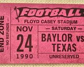 A throwback to the 1990 #Baylor vs UT game in #FloydCasey stadium. If only Baylor football games were still $5! (Click to see more vintage Baylor tickets.)