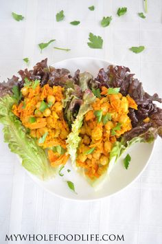 Chickpea Curry Lettuce Wraps. It takes less than 30 minutes to make this healthy meal. #vegan #glutenfree #chickpeas #healthyrecipe
