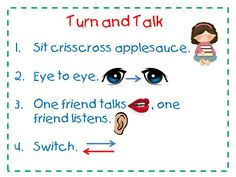 Turn and Talk anchor chart - lower grades