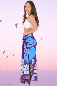 Stunning Ladies Floral Sarong - Hand-Painted (Batik Style) features Shells & Hibiscus flowers & leaves. Beautiful Plus Size Beach Bikini Cover, even use as beach towel, wall hanging or table cloth. Many styles to choose from. Coconut Sarong Clip included. #sarong #beachcoverup #handpaintedsarong #batiksarong #bikinicover #frangipani #plumeria #hawaiian #luauparty #cruisewear #cruise #beach #vacation #springbreak #hulagirl #sexy #sarongclip #coconutclip #sarongbuckle