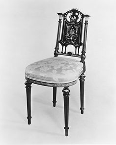 Side Chair  Attributed to Léon Marcotte (1824–1887)  Date: 1860–70 Geography: Mid-Atlantic, New York City, New York, United States Culture: American Medium: Maple, brass, mother-of-pearl