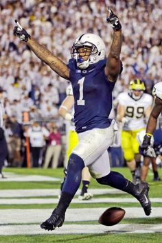 Penn State running back Bill Belton (1) celebrates scoring a touchdown during fourth overtime period. Penn State won 43-40. (Gene J. Puskar/AP)