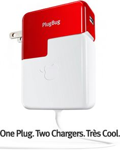 Plug Bug by twelvesouth: Simultaneously charge your MacBook and your iPhone or iPad. Also works as a stand alone charger. $34.95 #Plug_Bug #MacBook_Charger