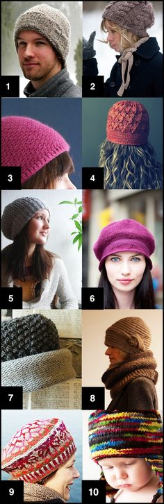 Ten free hat patterns for you to get thinking about knitting hats for Fall