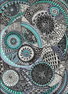 Zentangle with some blue