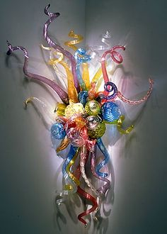 Dale Chihuly's Spring Confetti Corner Sconce